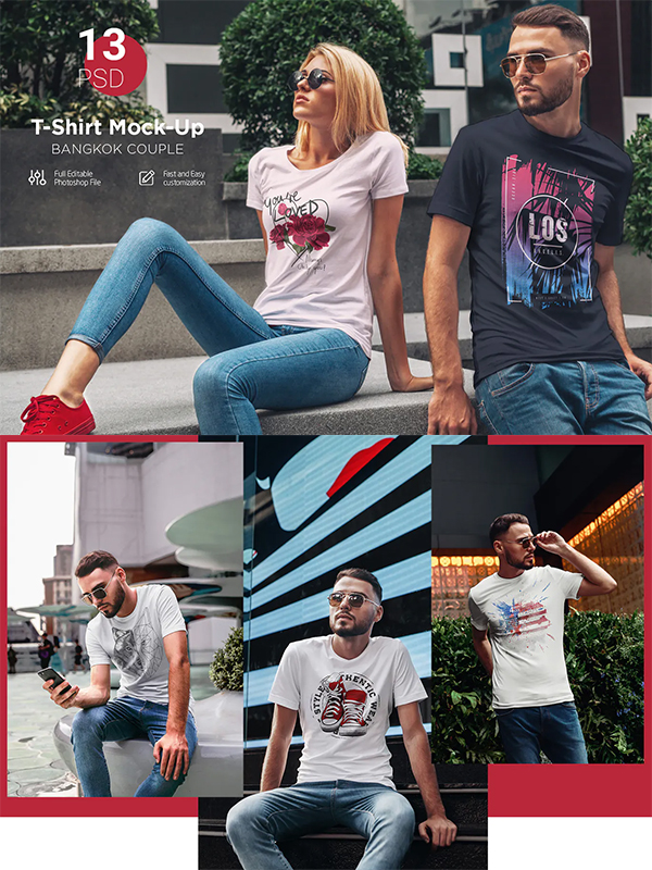 T-Shirt Mockup Couple in City