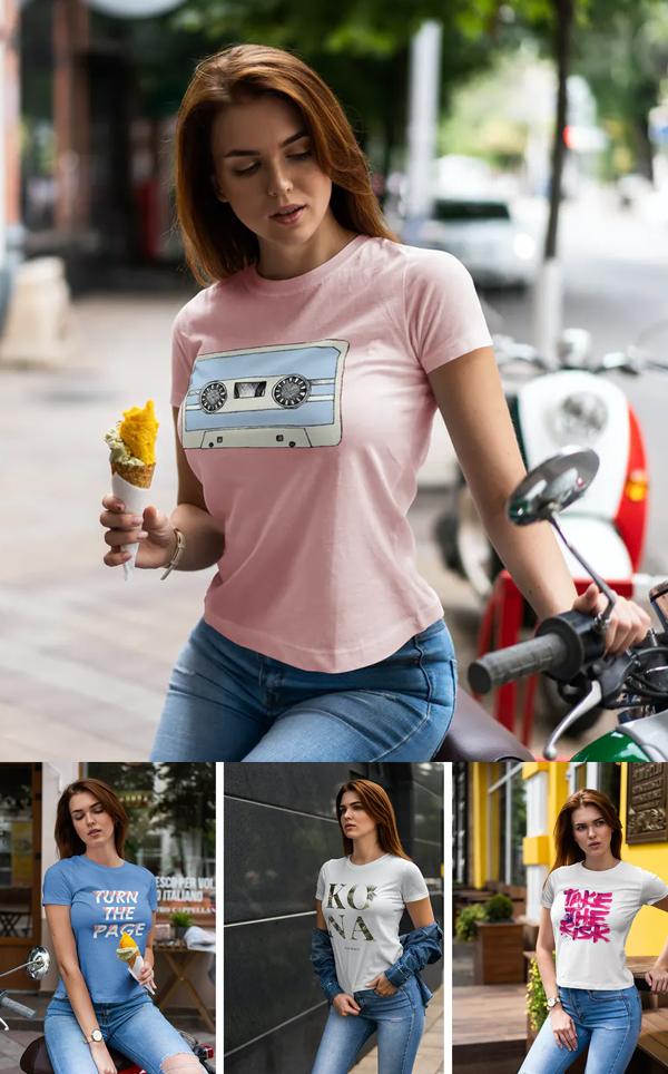 T-Shirt Mockup Walking Girl